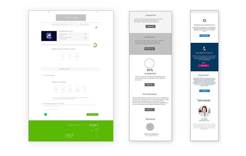 VAB wireframes and mobile screen